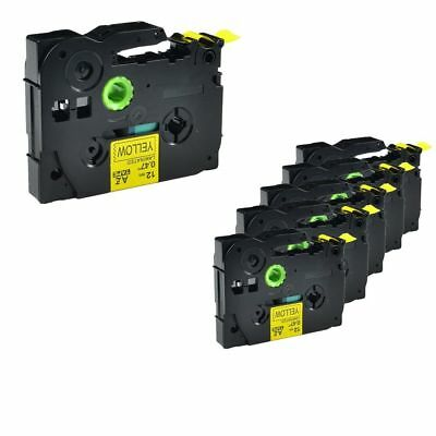 5PK TZ 631 TZe-631 Black on Yellow Label Tape For Brother P-Touch PT-310 12mmx8m