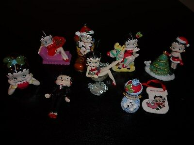 Lot of 9 Betty Boop Christmas Ornaments Champagne Glass Tree Wreath Boot