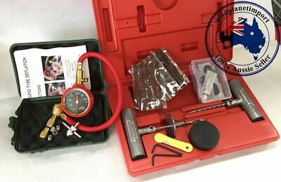 TYRE PUNCTURE REPAIR KIT 27 PIECE TIRE + Tyre Deflator with Pressure Gauge Rapid