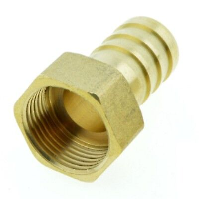 "14mm Hose Barb Tail To 3/4"" BSP Female Thread Straight Brass Connector Fitting"