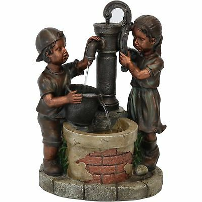 Sunnydaze Jack and Jill at Water Pump and Well Outdoor Fountain - 24-Inch