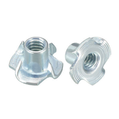 """100Pcs 1/4""""-20 4 Pronged Tee Nut T-Nut For Rock Climbing Holds Wood Cabinetry"""