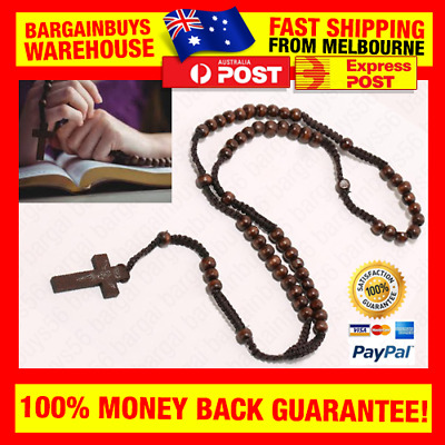 Wooden Rosary Beads Cross Pendant Men Women Catholic Prayer Bead Praying