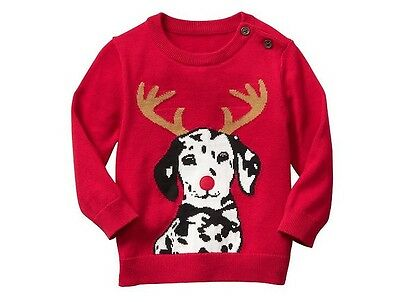 NWT Baby Gap Boy's Christmas Holiday Sweater Red Intarsia Dog  Size 6-12 M