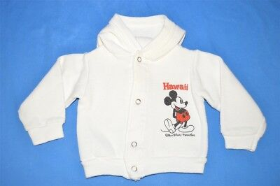 vintage 70s MICKEY MOUSE HAWAII WHITE SNAP FRONT HOODED SWEATSHIRT 12-18 MONTHS