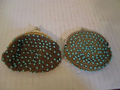 Vintage Set Of Two Crocheted Change Purses Beadies Counterpoint Of San Francisco