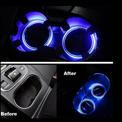 2X Solar Power Car SUV Cup Holders Bottom Pad Mat Blue LED Light Cover Trim Lamp