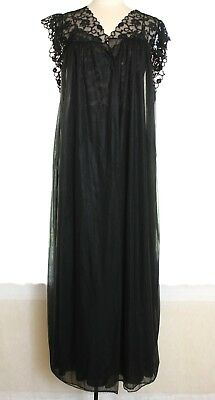 Vtg Lily of France Sheer Black Floral Tulips Lace Long Peignoir Set Robe Gown