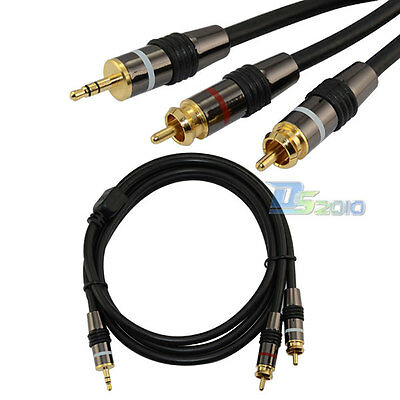 """5Ft 3.5mm 1/8"""" Stereo Male plug TO 2 RCA Male Audio Speaker AUX Adapter Cable"""