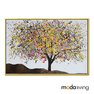 New Hand Painted Oil Painting Framed Modern Abstract Canvas Wall Art Tree