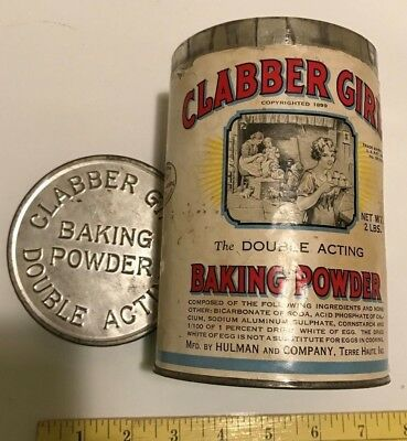 Antique Clabber Girl Baking Powder Tin Container with Lid