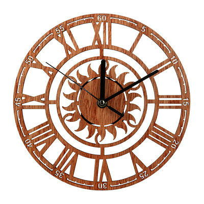 1xLarge Vintage Wooden Wall Clock Chic Rustic Kitchen Home Antique Style Decor