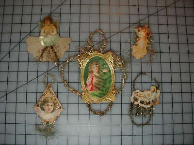 Vintage Antique Lot of Scrap Paper Tinsel Christmas Tree Ornaments Old German?