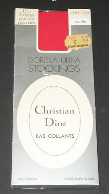Vintage CHRISTIAN DIOR Diorella Ultra Stockings SCARLET RED Bas-Collants BNIP