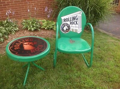 Vintage Retro Patio Lawn Chair & 3 Legged Table Metal Rolling Rock Beer Decal