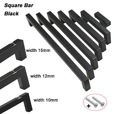 Black Kitchen Cabinet Handles Square Bar Door Knobs Cupboard Drawer Pulls Handle