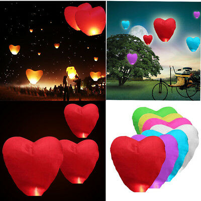 1/2/5/10pcs Paper Heart Paper Chinese Lanterns Sky Fly Candle Wishing  Lamps
