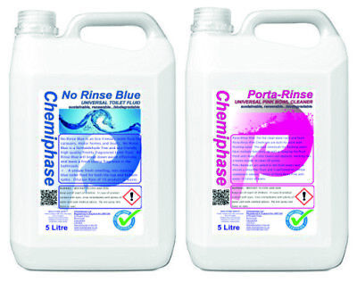 2 x 5L Blue & Pink Chemical Motorhome & Caravan Toilet Fluid and Bowl Cleaner