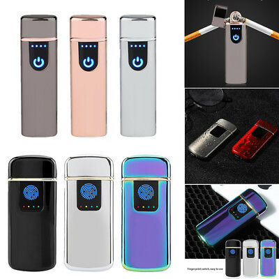 USB Electric Dual Flameless Torch Rechargeable Windproof Cigarette Lighter Gift