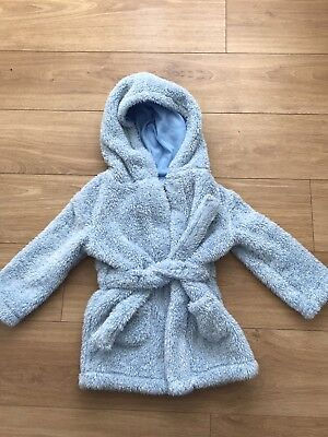 Baby Boys Girls Unisex Light Blue Hooded Dressing Gown Sleepwear 18-24 Months