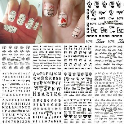 Nail Sticker Love Text English Letter Number Art Water Transfer Decal Set