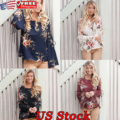 Women Loose Floral Tops Blouse Long Flare Sleeve Lace Up Ladies Autumn T Shirts