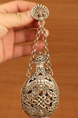 Big Old Tibet Silver hand chinese culture  rare statue Incense Box Snuff Bottle
