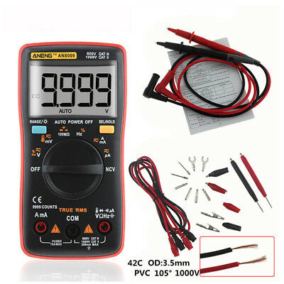 AN8009 Digital Profi Multimeter True RMS Auto-Range 9999 zählt Temperatur AC DC