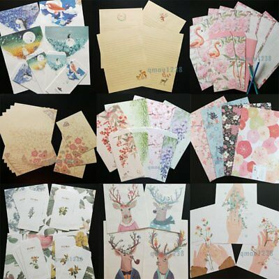 Letter Paper Set - Various Patterns&Sizes - Writing Paper + Envelope Stationary
