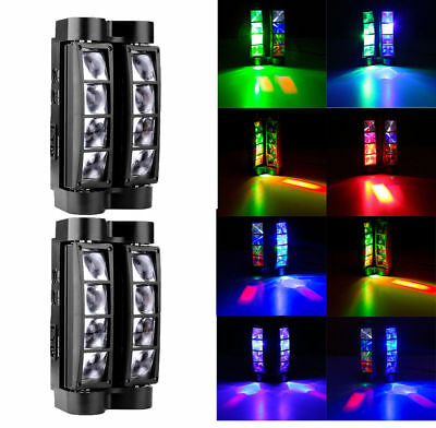 2PCS 85W LED Moving Head Light DMX-512 RGBW Stage DJ Beam Spider Lighting Party