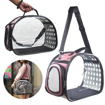Portable Transparent Pet Carrier Cat Dog Puppy Travel Tote Cage Bag Kennel Crate