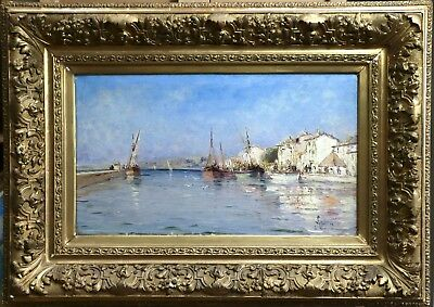 19th CENTURY LARGE FRENCH OIL ON CANVAS MARTIGUES HARBOUR - LETELLIER - SUPERB