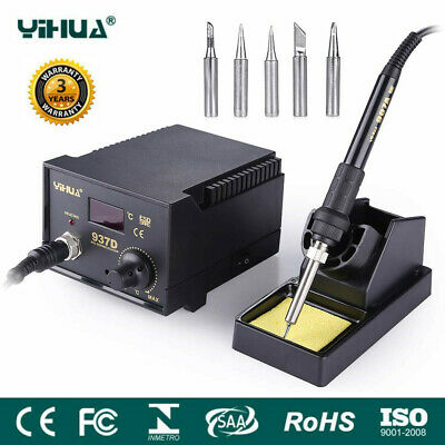 937D Soldering Iron Station Hot Air Digital Welding SMD Tool Stand W/5 Tips 45W