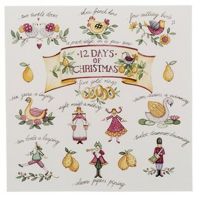 WHSmith Twelve Days of Christmas Charity Christmas Cards Pack of 10