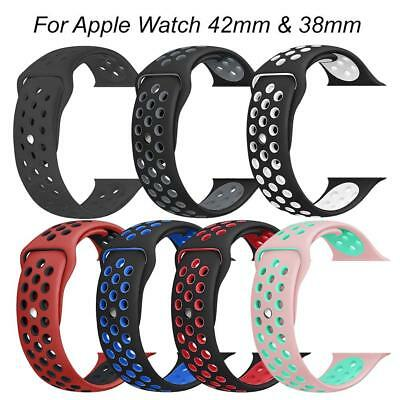 Replacement Sports Silicon Watch Band Strap For Apple Watch iWatch 38mm 42mm