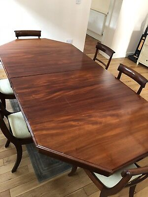Antique Victorian Mahogany Dining Table And Regency Chairs