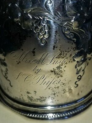 Hyde & Goodrich Hand Chased Coin Silver Cup from New Orleans