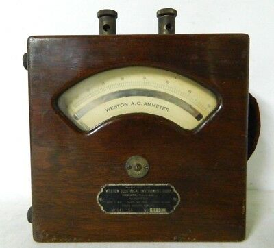 Vintage Weston Electrical Inst. Co. Ammeter Model 155 in Wooded Case - Working
