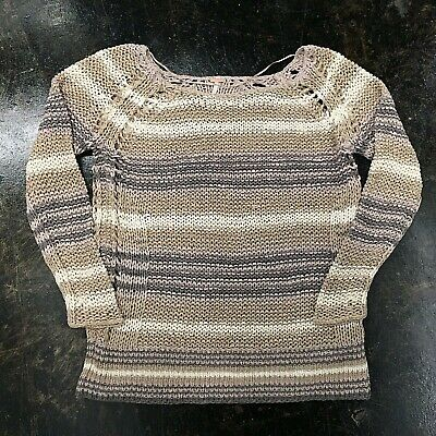 3f5d1d6f9 Free People (Medium) Striped Chunky Open Knit Pullover Sweater Cotton EUC
