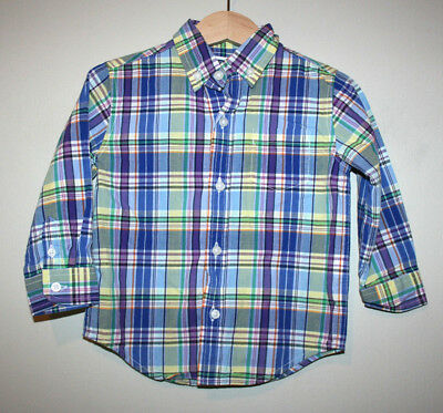 Baby Boys JANIE AND JACK Plaid Button Down Front Long Sleeve Shirt 18-24 Months