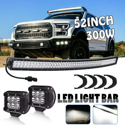 """52""""inch 300W CURVED LED LIGHT BAR OFFROAD Fit For Polaris RZR XP Ford Ranger"""
