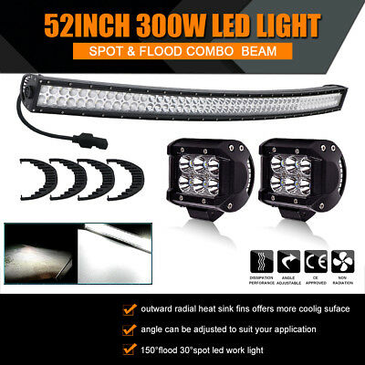 Curved 52inch 300W LED Work Light Bar Combo Truck Offroad for SUV Jeep UTE USA