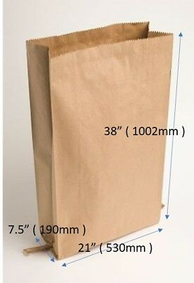 "Kraft 2ply Large Paper Sacks 21""x 7.5""x 38"" ( 530 x 720 x 1002mm )"