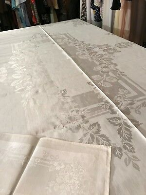 Vtg. Antique Glossy Floral Satin Finished Linen w/8 Matching Napkins/Never Used