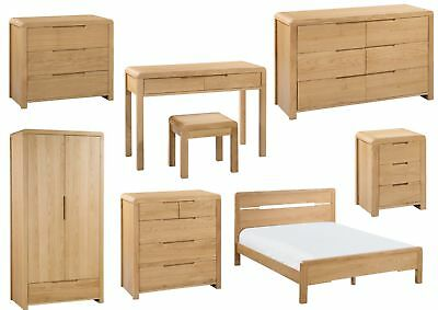Julian Bowen Curve Bedroom Furniture Range - Solid Oak, Modern Rounded Design