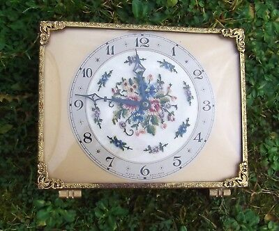 Vintage Petit Point Vanity / Dressing Table Wind Up Clock Domed Glass.Working