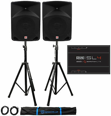 "Rane SL4 Serato Scratch Live Dual DJ Interface+Pair 10"" Powered Speakers+Stands"