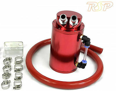 Red Universal Aluminum Oil Catch Tank / Can 10mm Inlets Red Hose