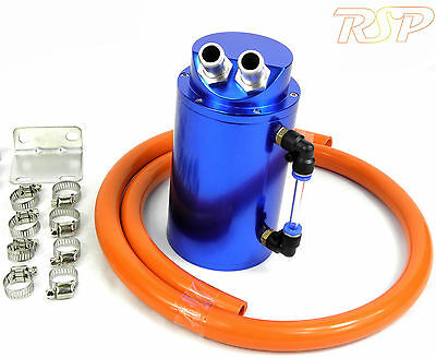 Blue Universal Aluminum Oil Catch Tank / Can 15mm Inlets Orange 13mm Hose