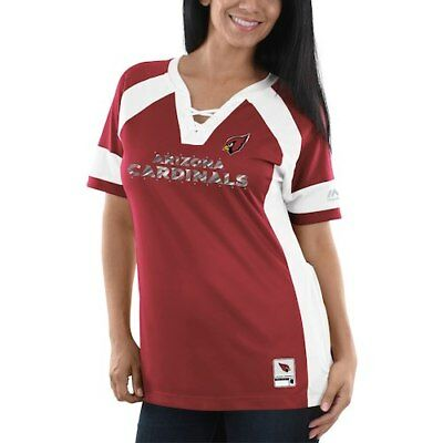 2e6d61f5 Arizona Cardinals Majestic Women's Draft Me V-Neck T-Shirt - Cardinal/White